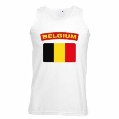 Singlet shirt/ tanktop belgische vlag wit heren