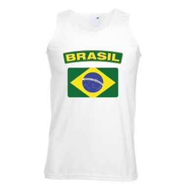 Singlet shirt/ tanktop braziliaanse vlag wit heren