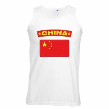 Singlet-shirt tanktop chinese vlag wit heren