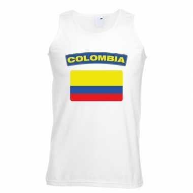 Singlet shirt/ tanktop colombiaanse vlag wit heren