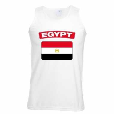 Singlet shirt/ tanktop egyptische vlag wit heren