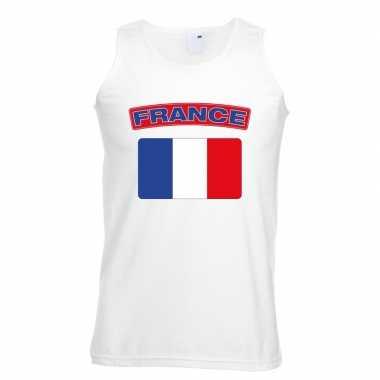 Singlet shirt/ tanktop franse vlag wit heren
