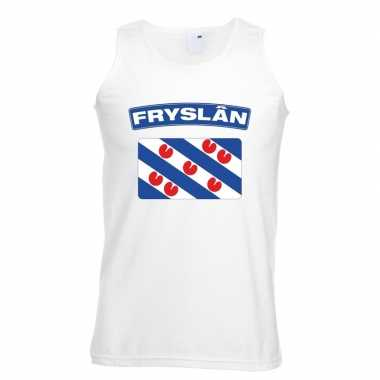 Singlet-shirt tanktop friese vlag wit heren