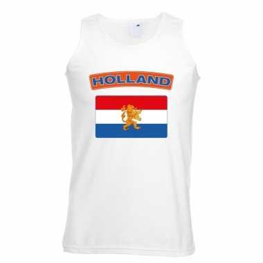 Singlet shirt/ tanktop hollandse vlag wit heren