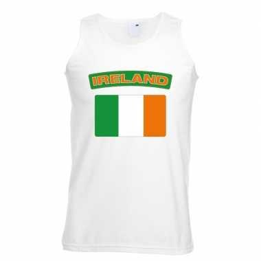 Singlet shirt/ tanktop ierse vlag wit heren