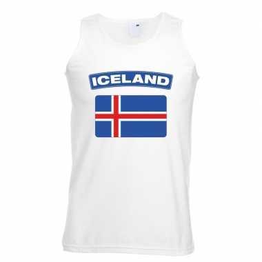 Singlet-shirt tanktop ijslandse vlag wit heren