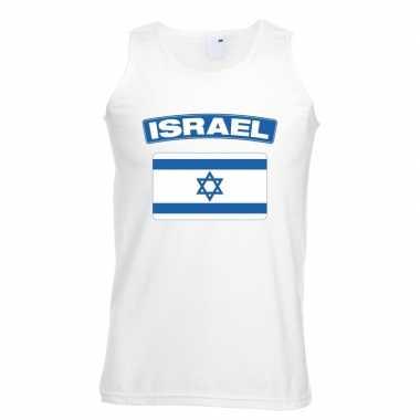 Singlet-shirt tanktop israelische vlag wit heren