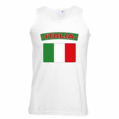 Singlet shirt/ tanktop italiaanse vlag wit heren