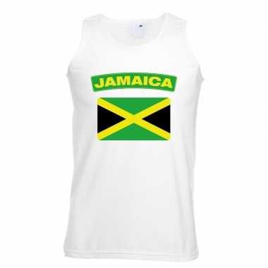 Singlet-shirt tanktop jamaicaanse vlag wit heren