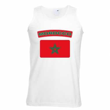 Singlet-shirt tanktop marokaanse vlag wit heren