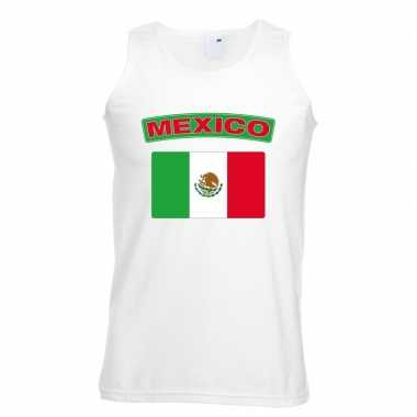 Singlet-shirt tanktop mexico vlag wit heren