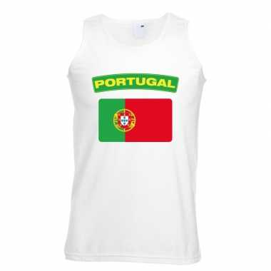 Singlet-shirt tanktop portugese vlag wit heren