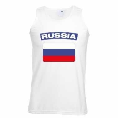 Singlet-shirt tanktop russische vlag wit heren