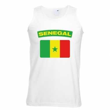 Singlet shirt/ tanktop senegalese vlag wit heren