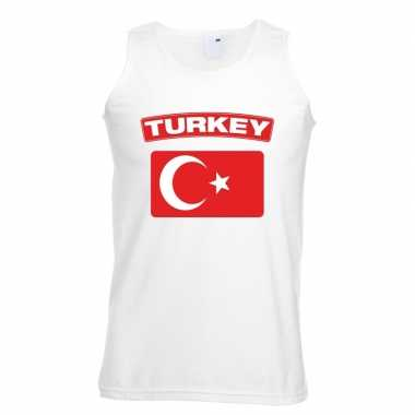 Singlet-shirt tanktop turkse vlag wit heren