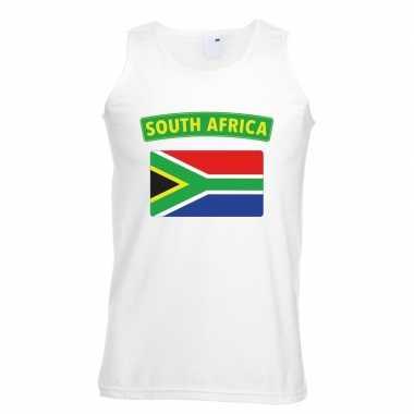 Singlet shirt/ tanktop zuid afrikaanse vlag wit heren