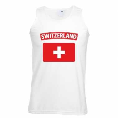 Singlet-shirt tanktop zwitserse vlag wit heren