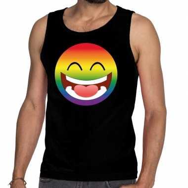 Smiley/emoji regenboog gay pride tanktop zwart heren shirt
