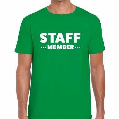 Staff member / personeel tekst t shirt groen heren