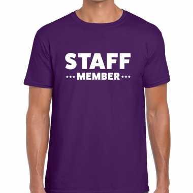 Staff member / personeel tekst t shirt paars heren