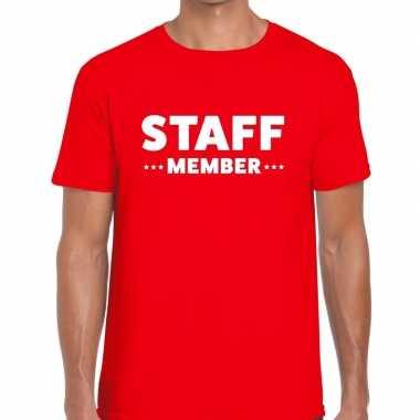 Staff member / personeel tekst t shirt rood heren
