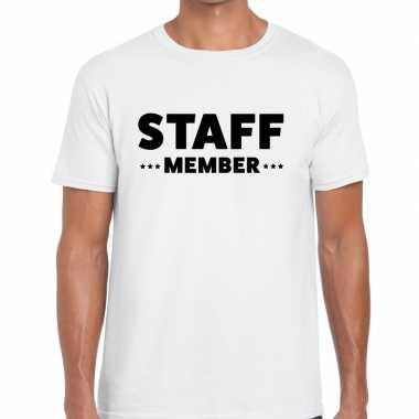 Staff member / personeel tekst t shirt wit heren