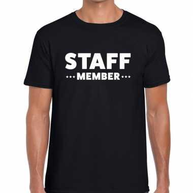 Staff member / personeel tekst t shirt zwart heren