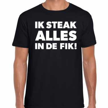 Steak alles fik bbq barbecue cadeau t-shirt zwart heren
