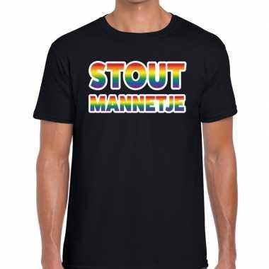 Stout mannetje regenboog gaypride shirt zwart heren