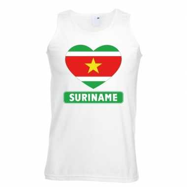 Suriname hart vlag singlet shirt/ tanktop wit heren