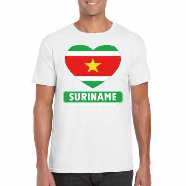 Suriname hart vlag t-shirt wit heren