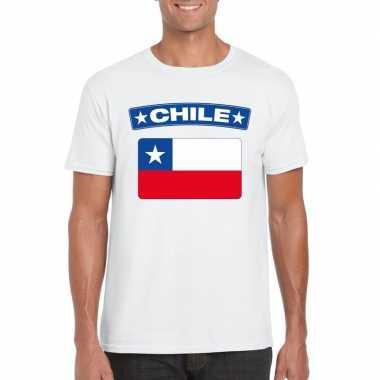 T shirt chileense vlag wit heren