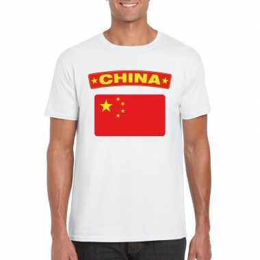 T shirt chinese vlag wit heren