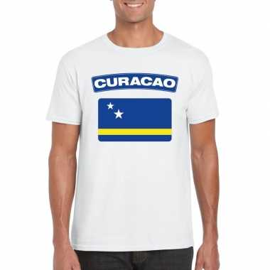 T shirt curacaose vlag wit heren