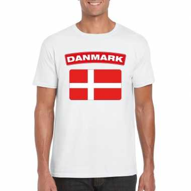 T shirt deense vlag wit heren