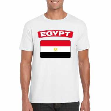 T shirt egyptische vlag wit heren