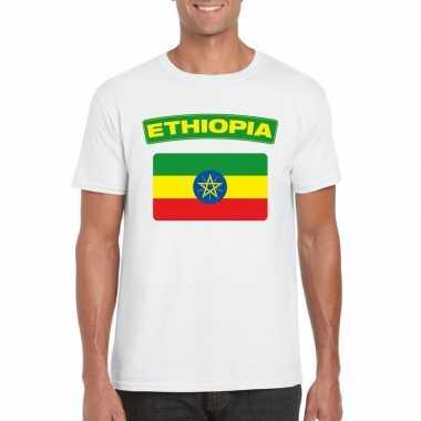 T shirt ethiopische vlag wit heren