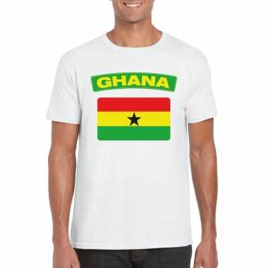 T shirt ghanese vlag wit heren