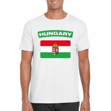 T shirt hongaarse vlag wit heren