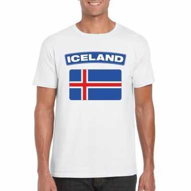 T shirt ijslandse vlag wit heren