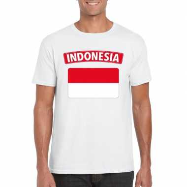 T shirt indonesische vlag wit heren