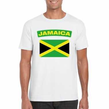 T shirt jamaicaanse vlag wit heren
