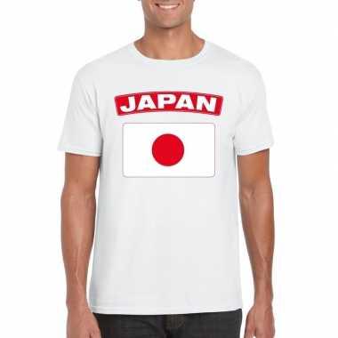 T shirt japanse vlag wit heren