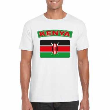 T shirt keniaanse vlag wit heren