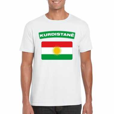 T shirt koerdistaanse vlag wit heren