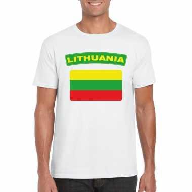 T shirt litouwse vlag wit heren