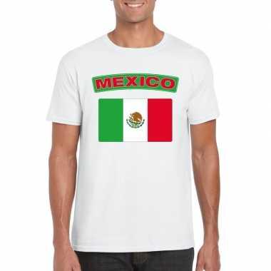 T shirt mexicaanse vlag wit heren