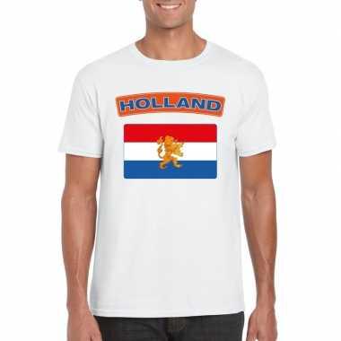 T shirt nederlandse vlag wit heren