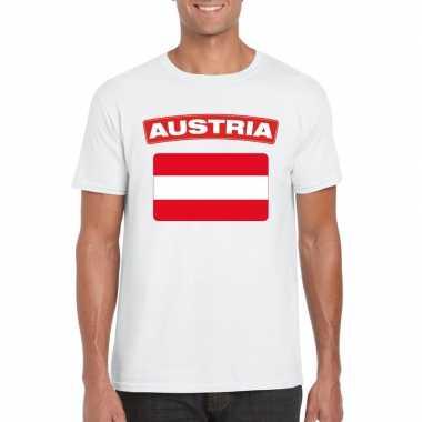 T shirt oostenrijkse vlag wit heren