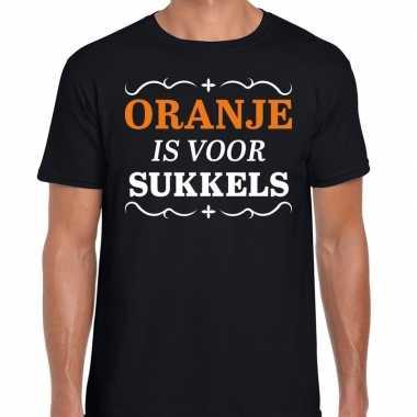 T shirt oranje is sukkels zwart heren